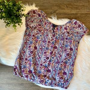 Banana Republic floral silk blouse